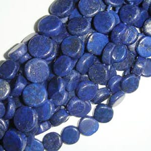 Blue Dyed Lapis Lazuli Grade A Plain Coin Beads Approx 6-7mm Strand Of 48+ Pieces DW1270