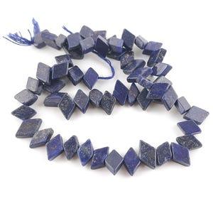 Blue Dyed Lapis Lazuli Grade A Diamond Beads 7x10mm-7x12mm Strand Of 48+ Pieces DW1280