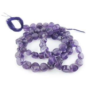 Purple Amethyst Grade A Plain Coin Beads Approx 5-6mm Strand Of 55+ Pieces DW1450