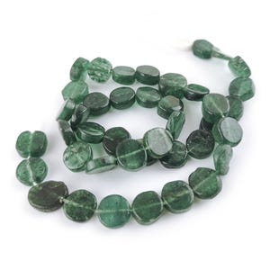 Green Aventurine Grade A Plain Coin Beads Approx 8-10mm Strand Of 35+ Pieces DW1500