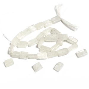White Rainbow Moonstone Grade A Rectangle Beads 5 x 7mm-6 x 12mm Strand Of 30+ Pieces DW1675