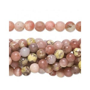 Pink/Yellow Lepidolite Grade A Plain Round Beads 8mm Strand Of 45+ Pieces FM1032