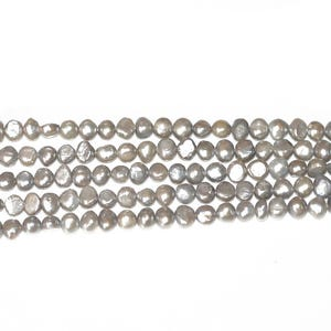 Silver Freshwater Pearl Baroque Potato Beads 7mm-8mm Strand Of 40+ Pieces FP1678-4