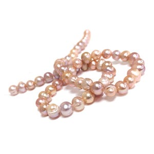 Lilac Freshwater Pearl Round Potato Beads 6mm-7mm Strand Of 50+ Pieces FP1707-1