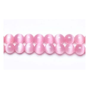 Bright Pink Glass Cat's Eye Plain Round Beads 8mm Strand Of 45+ Pieces GB9214-3