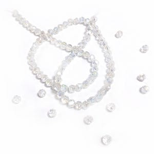 Clear AB Czech Crystal Faceted Round Beads 4mm Strand Of 90+  Pieces GC3544-1