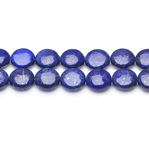 Blue Dyed Lapis Lazuli Grade A Puffy Coin Beads 10mm Strand Of 35+ Pieces GS0221-1