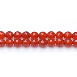 Red Carnelian Grade A Faceted Round Beads 8mm Strand Of 45+ Pieces GS0607-2