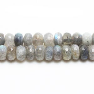 Grey Labradorite Grade A Faceted Rondelle Beads 4mm x 6mm Strand Of 85+ Pieces GS0659-1