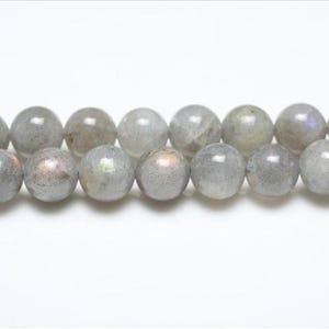 Grey Labradorite Grade A Plain Round Beads 8mm Strand Of 44+ Pieces GS0663-2