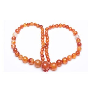 Orange/White Carnelian Grade A Faceted Graduated Round Beads 6mm-14mm Strand Of 60+ Pieces GS11032