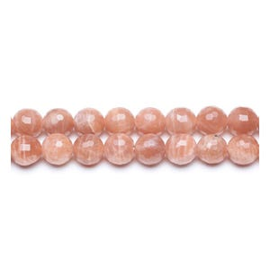 Peach Sunstone Grade A Faceted Round Beads 8mm Strand Of 44+ Pieces GS11042-2