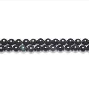Black/Dark Green Rainbow Obsidian Grade A Plain Round Beads 6mm Strand Of 62+ Pieces GS11056-1