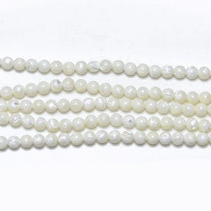 White Mother Of Pearl Plain Round Beads 4mm Strand Of 95+ Pieces GS11453-2