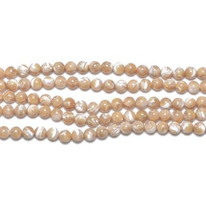 Cream Mother Of Pearl Plain Round Beads 8mm Strand Of 44+ Pieces GS11455-4