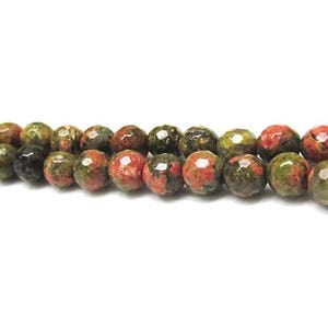 Green/Orange Unakite Grade A Faceted Round Beads 8mm Strand Of 40+ Pieces GS12085-2