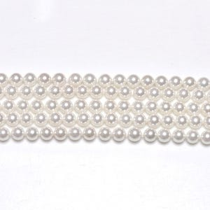 White Shell Pearl Plain Round Beads 6mm Strand Of 62+ Pieces GS1225-2