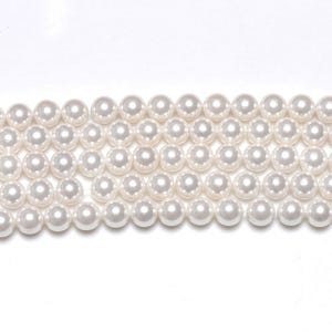 White Shell Pearl Plain Round Beads 8mm Strand Of 45+ Pieces GS1225-3