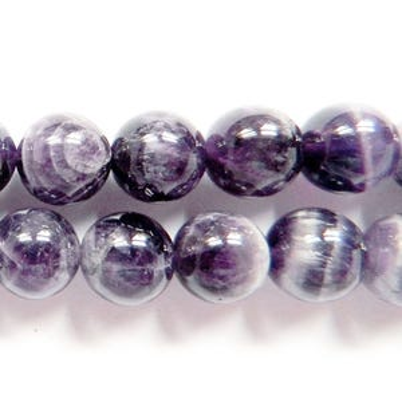 Purple/Grey Chevron Amethyst Grade A Plain Round Beads 6mm Strand Of 62+ Pieces GS1255-1