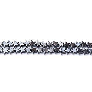 Grey Hematite (Non Magnetic) Grade A Flat Star Beads 6mm Strand Of 65+ Pieces GS12570-1