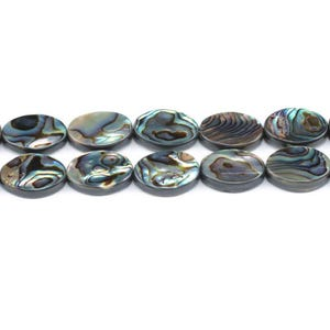 Rainbow Abalone Paua Shell Flat Oval Beads 13mm x 18mm Pack Of 4 GS1333-5