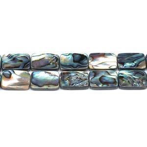 Rainbow Abalone Paua Shell Flat Rectangle Beads 13mm x 18mm Pack Of 4 GS1335-5