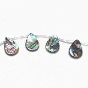 Rainbow Abalone Paua Shell Plain Flat Drop Beads 13mm x 18mm Pack Of 4 GS1337-3