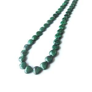 Green Malachite Grade A Puffy Heart Beads 10mm Pack Of 4 GS1406-1