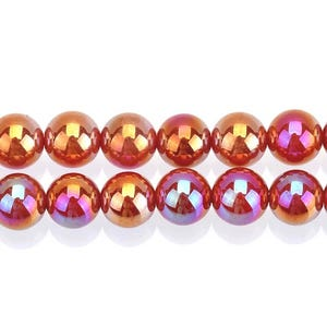 Red AB Carnelian Grade A Plain Round Beads 8mm Strand Of 40+ Pieces GS14239-2
