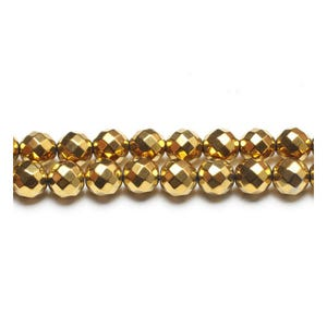 Golden Hematite (Non Magnetic) Grade A Faceted Round Beads 8mm Strand Of 45+ Pieces GS15391-4