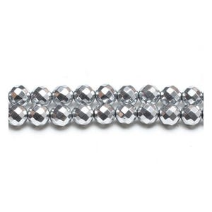 Bright Silver Hematite (Non Magnetic) Grade A Faceted Round Beads 8mm Strand Of 45+ Pieces GS15392-4