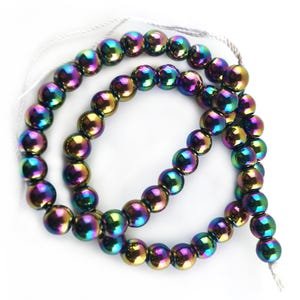 Rainbow Hematite (Non Magnetic) Grade A Plain Round Beads 8mm Strand Of 45+ Pieces GS15620-5