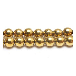 Golden Hematite (Non Magnetic) Grade A Plain Round Beads 10mm Strand Of 38+ Pieces GS15621-5
