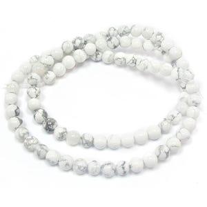 White/Grey Howlite Grade A Plain Round Beads 4mm Strand Of 95+ Pieces GS1564-1