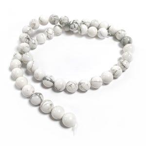 White/Grey Howlite Grade A Plain Round Beads 8mm Strand Of 45+ Pieces GS1564-3