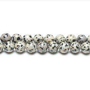Cream/Black Dalmatian Jasper Grade A Plain Round Beads 4mm Strand Of 95+ Pieces GS1566-1