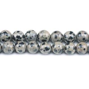 Cream/Black Dalmatian Jasper Grade A Plain Round Beads 6mm Strand Of 62+ Pieces GS1566-2