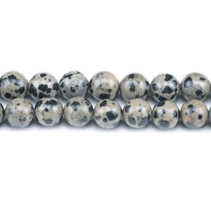 Cream/Black Dalmatian Jasper Grade A Plain Round Beads 8mm Strand Of 45+ Pieces GS1566-3