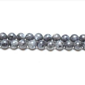 Black/Grey Larvikite Grade A Plain Round Beads 4mm Strand Of 95+ Pieces GS1590-1