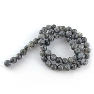 Black/Grey Larvikite Grade A Plain Round Beads 6mm Strand Of 60+ Pieces GS1590-2