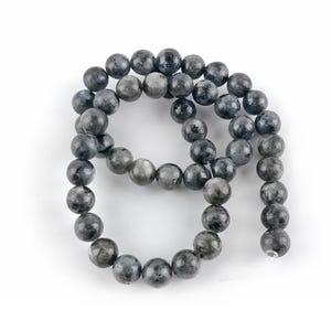 Black/Grey Larvikite Grade A Plain Round Beads 8mm Strand Of 45+ Pieces GS1590-3