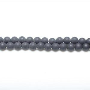 Dark Grey Matte Onyx Grade A Plain Round Beads 8mm Strand Of 44+ Pieces GS1591-2