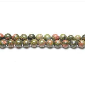 Green/Orange Unakite Grade A Plain Round Beads 4mm Strand Of 95+ Pieces GS1599-1