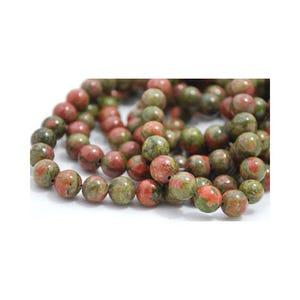 Green/Orange Unakite Grade A Plain Round Beads 8mm Strand Of 45+ Pieces GS1599-3