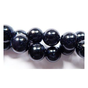 Blue Goldstone Plain Round Beads 6mm Strand Of 60+ Pieces GS1623-2