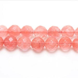 Pink Cherry Quartz Faceted Round Beads 8mm Strand Of 44+ Pieces GS1650-3