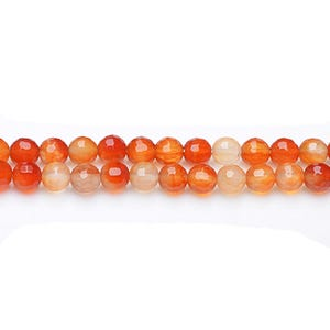 Orange/White Carnelian Grade A Faceted Round Beads 8mm Strand Of 45+ Pieces GS17711-3