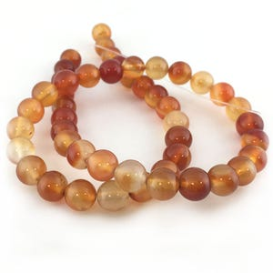 Orange/White Carnelian Grade A Plain Round Beads 8mm Strand Of 45+ Pieces GS17712-3