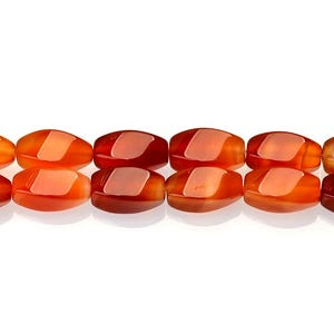 Orange Carnelian Grade A Twisted Rice Beads 8mm x 16mm Strand Of 20+ Pieces GS17729
