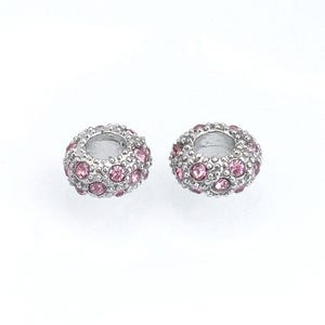 Silver/Pink Rhodium Plated Alloy Large Hole Beads 6mm x 11mm Pack Of 10 GS17806